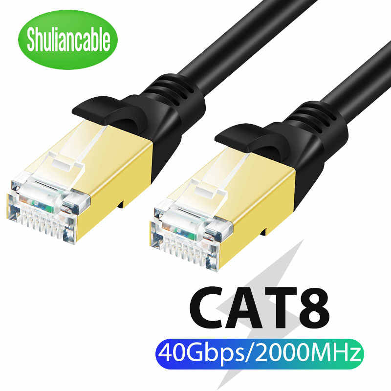 Shuliancable Cat8 Ethernet Kabel Sstp 40Gbps Super Speed Kat 8 RJ45 Netwerk Lan Patch Koord Voor Ps 4 Router laptop Kabel Ethernet