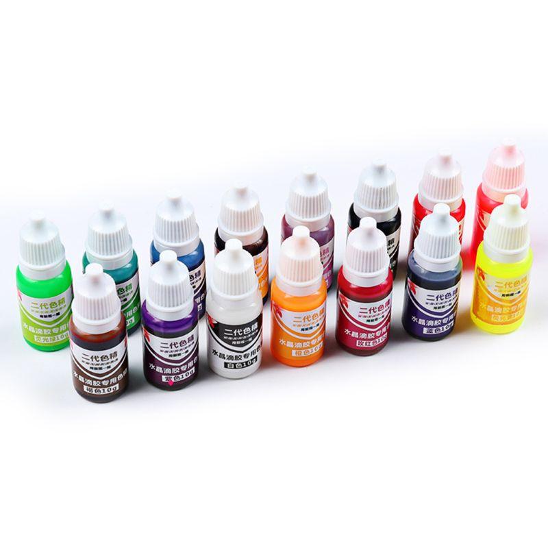 Juego de 15 unidades de 10g DIY, producción de joyas artesanales, pigmento para colorear, Gel de pegamento de cristal UV, pigmento de resina de Color sólido oleoso|Pinturas acrílicas|   - AliExpress
