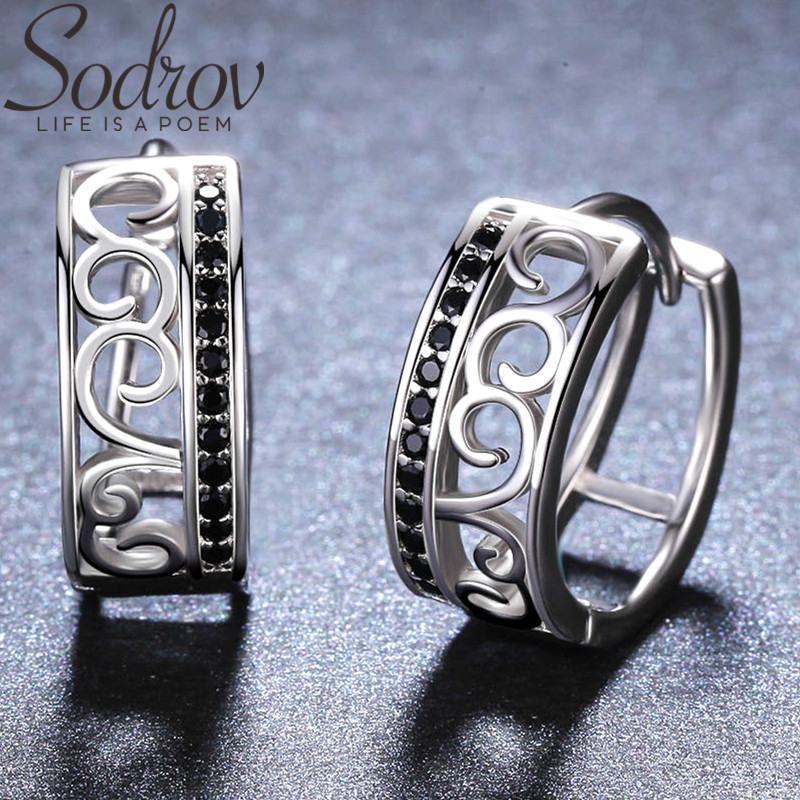 SODROV Round 925 Sterling Silver Jewelry Delicate Pattern Hoop Earrings For Women Black Spinel Boucles D'oreilles I030