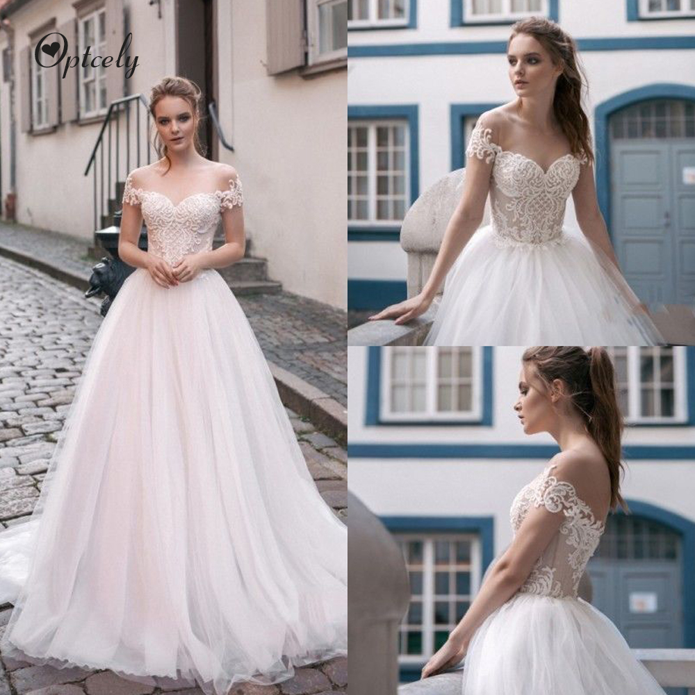 Optcely Elegant A-line Scoop Neck Short Sleeve See-through Wedding Dress 2019 Exquisite Appliques Beaded Sweep Train Bridal Gown
