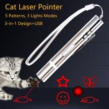 Игрушка для домашних животных USB Перезаряжаемые 3 в 1 с забавным котом Chaser мини палка фонарь красный светодиодный лазерный указатель с забав...