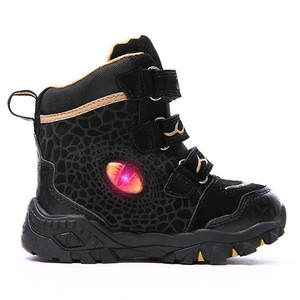 Image 3 - Dinoskulls Boys Winter Boots Shoes Genuine Leather T Rex LED Glowing 2020 kids 2 8T Warm Plush Fleece Children Snow Boots Shoes