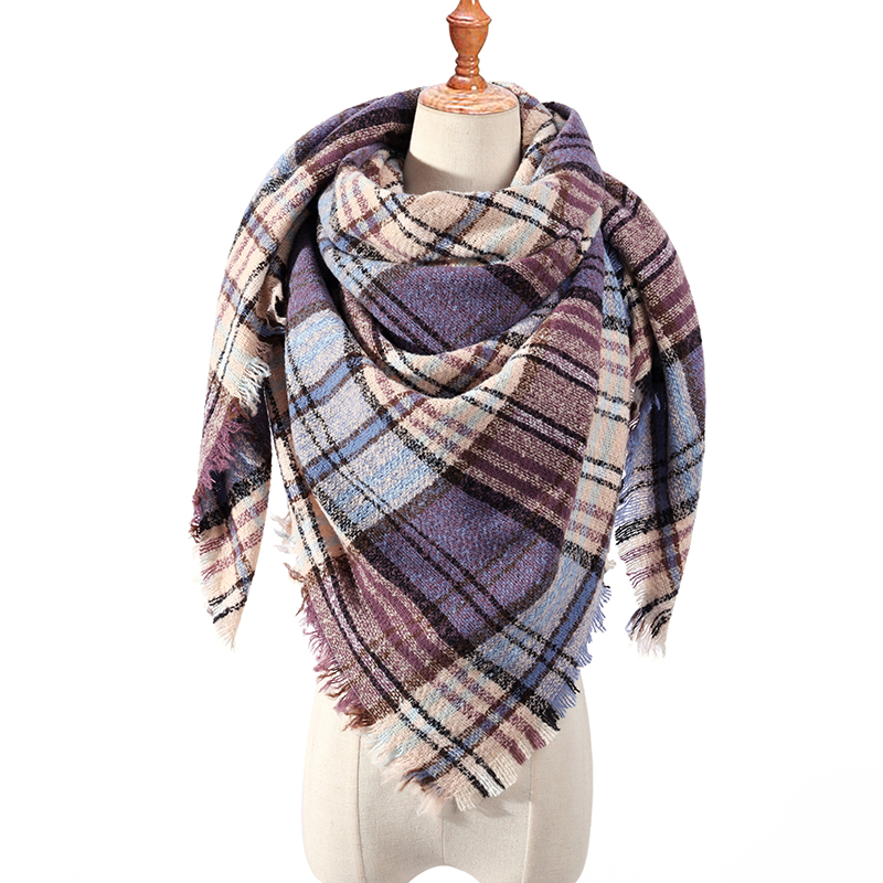 2019 Winter Triangle Scarf For Women Plaid Warm Cashmere Scarves Female Shawls Pashmina Lady Bandana Wraps Blanket
