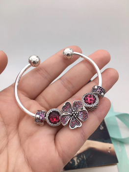 high quality store 1:1 100% 925 silver sterling charm red frizzy flower open freight bracelet free