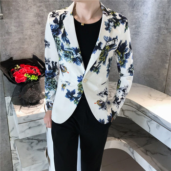 Fashion Glossy Floral Blazer Jacket Suits for Men Casual Tuxedos Slim fit New