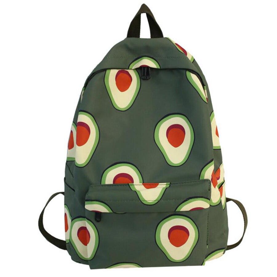 Cute Avocado Green Backpack Fashion Nylon Carrot Fruit Print Rucksack Women Large School Bagpack For Teenage Girl Mochilas Mujer