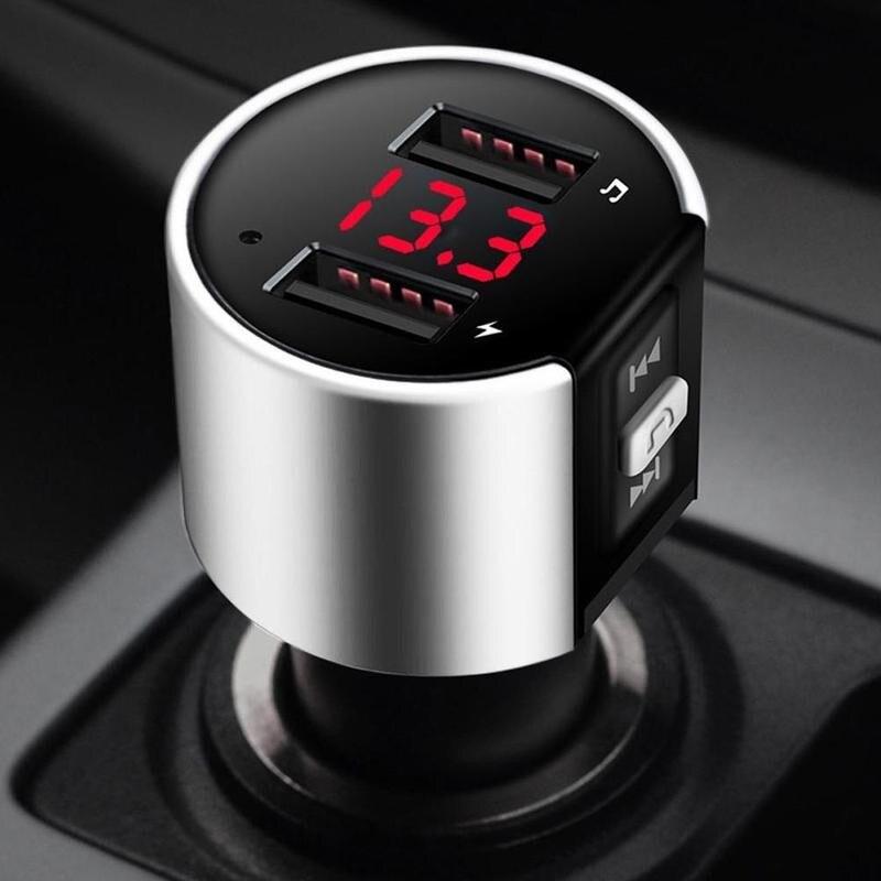 Transmisor FM con Bluetooth Audio Aux modulador Dual USB Cargador de Coche Rápido Bluetooth manos libres llamadas coche Kit coche Radio reproductor MP3