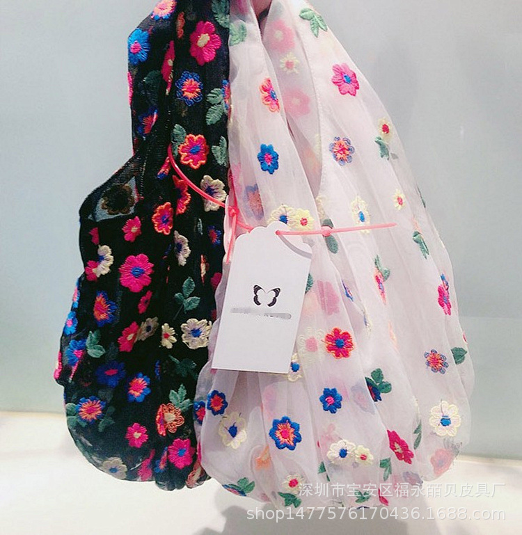 Korean  Organza Embroidery Colorful Flowers Hand Bags & Shoes  Other Girl Bags