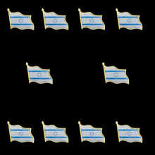 10PCS 3D Israel Flag Pin Brooch Waving Badge Metal Tie Tack Hat Lapel Pin Brooches Accessories greece waving flag lapel pin 19 x 21mm hat tie tack badge lapel pin brooch badge