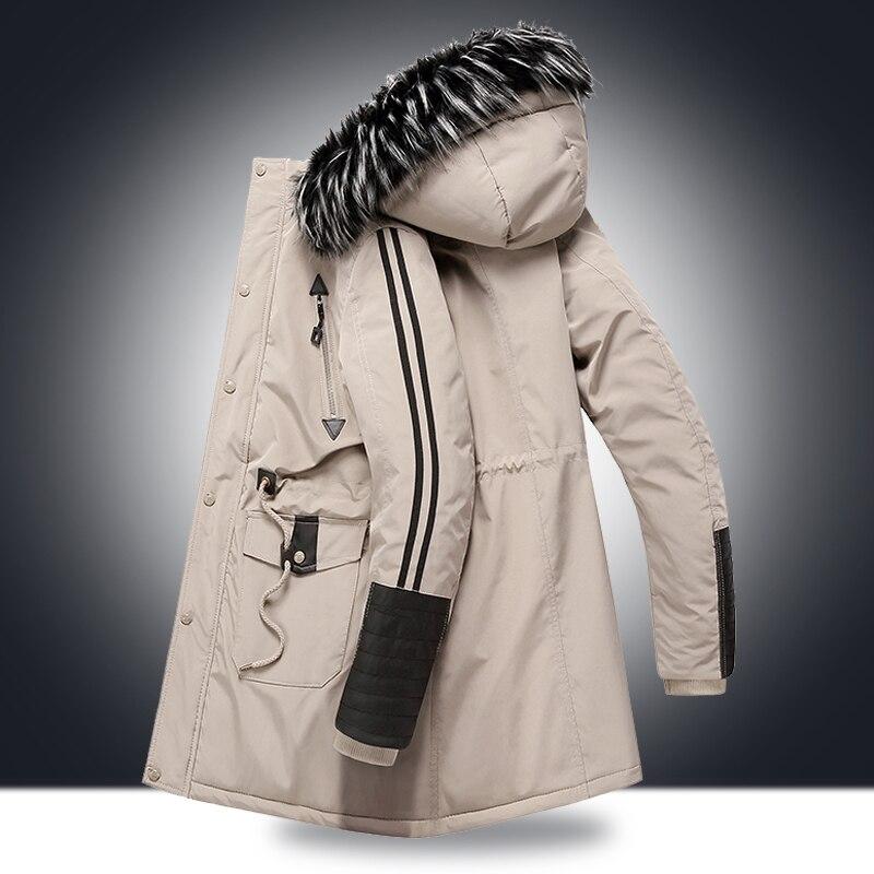 Winter Jacket Men Padded Parka Russia -15 -20 Degree Man Winter Coat Fur Hooded Big Pockets Thick Windproof Long Parkas Male New