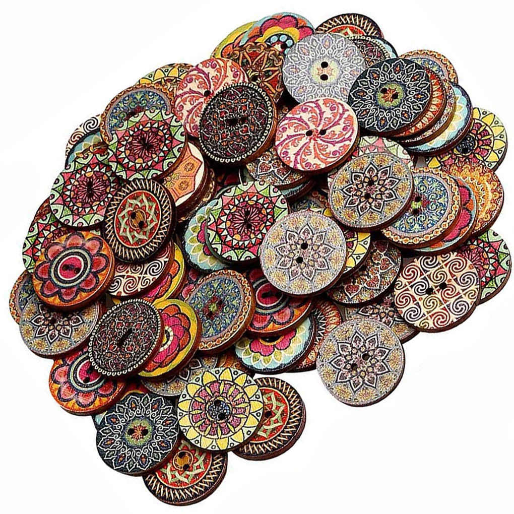 Clothes Buttons 100 PCS Wooden Sweater Buttons Buy in Bulk Decorative Buttons Various Patterns Two Holes Assorted Buttons