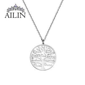 Image 2 - AILIN 2020 사용자 정의 목걸이 1 9 개인 된 펜 던 트 생명의 나무 가족 이름 목걸이 여성을위한 크리스마스 보석 어머니 선물