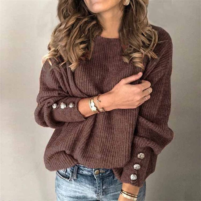 #53 Women's Fashion Solid Color Pullover Round Neck Warm Long Sleeve Sweater Fashion Simple And Elegant Mujer Suéteres 2