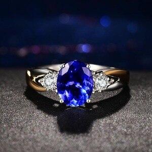 Image 3 - باجو رينجن خلق الأزرق خاتم من الياقوت الأزرق s للنساء الفضة 925 الاسترليني خاتم مجوهرات الزفاف حفلة خطوبة هدية خاتم من الياقوت الأزرق