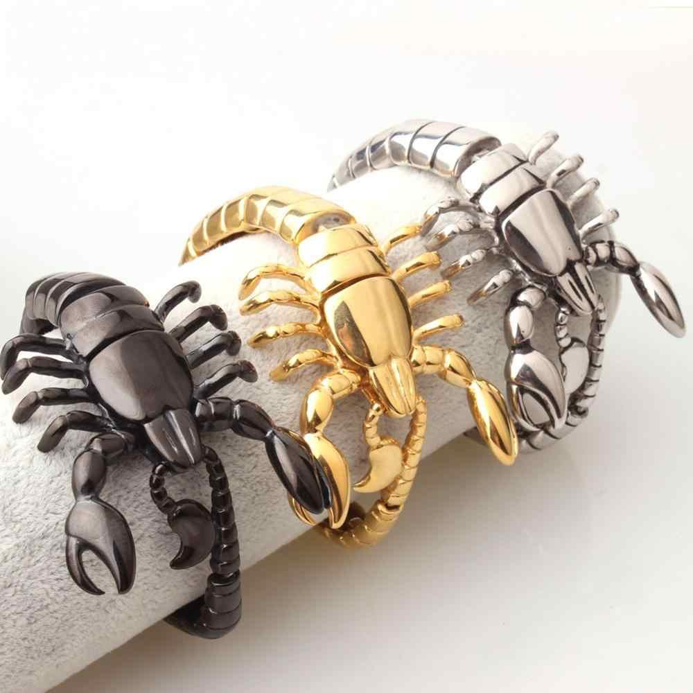 """באיכות גבוהה כסף זהב שחור צבע נירוסטה עקרב דגם צמידי Biker גברים של מגניב קאף צמידי תכשיטי 8.26"""""""