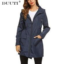 New Women Lightweight Raincoats For Female Waterproof Packable Hooded Outdoor Hiking Jacket Long Rain Active Rainwear D25