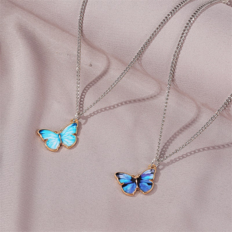 2020 New Purple Blue Butterfly Pendant Necklace for Women Vintage Titanium Steel Wedding Necklace Choker Jewelry Accessories