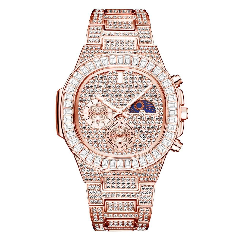 MISSFOX Man luxury Watch Gold Ice Out Full Diamond Square Wristwatches Double Dial Chronograph Waterproof Watches Mens 2020 dropshipping New auto r phase (2)