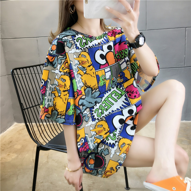 Купить женская футболка с коротким рукавом свободная и удобная в корейском