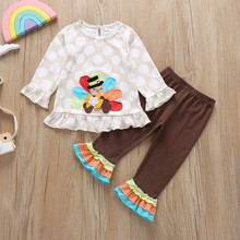 childrens clothing kids Baby girls clothes Cartoon Animal Tops+Falbala Pants Thanksgiving Outfits vetement enfant fille W906