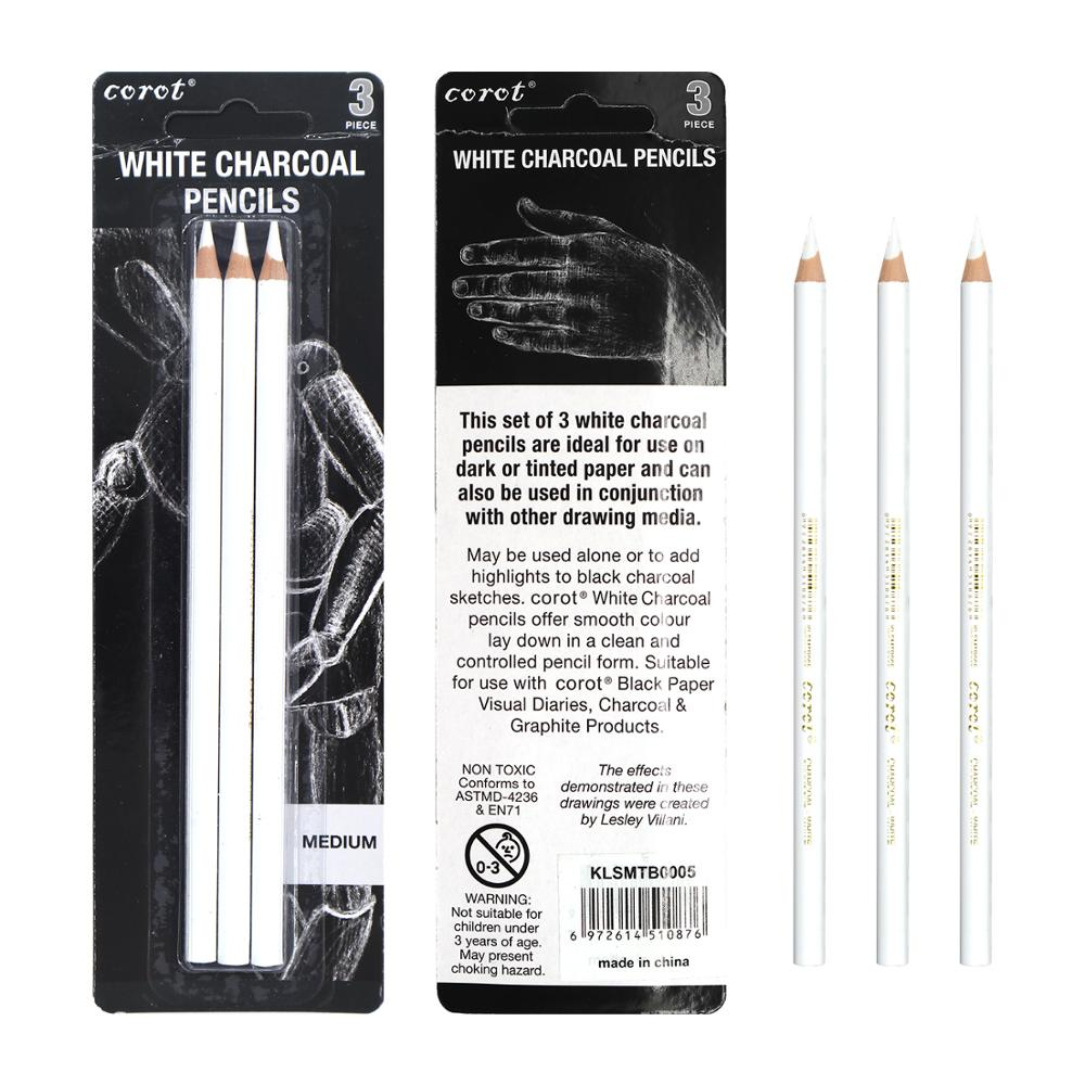 Corot 3Pcs White Highlight Sketch Charcoal Pencil Standard Pencil For Sketching Drawing Pencils Set Art Painting Supplies