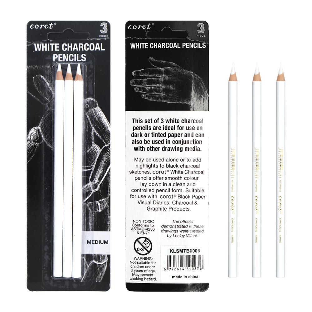 Corot 3 шт. белый карандаш для набросков, угольный карандаш, Стандартный Карандаш Для набросок рисунок, набор карандашей, товары для художестве...