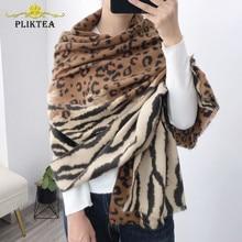 2020 New Fashion Design Patchwork Tiger Leopard Women Scarf Shawl Faux Cashmere