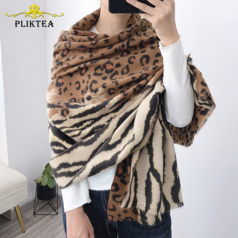 Fashion 2019 New Patchwork Tiger Leopard Women's   Scarf   Shawl Faux Cashmere Winter Poncho Animal   Scarves     Wrap   Ladies Wool Stole