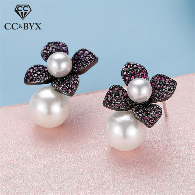 Vintage Jewelry Stud Earrings For Women 925 Silver Simple Flower Cubic Zirconia Freshwater Pearls Wedding Brincos CCE647