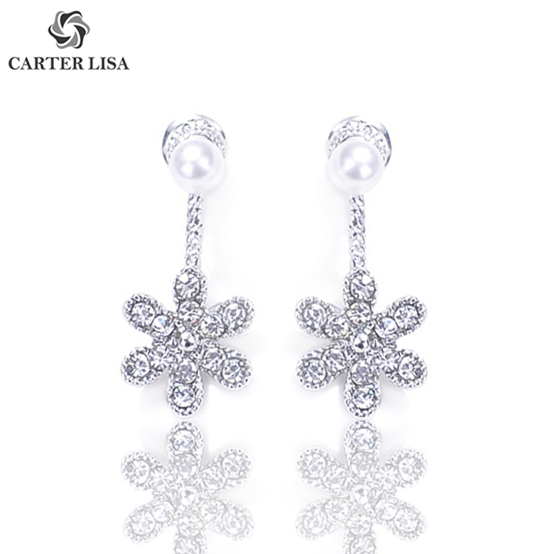 CARTER LISA Charm Elegant Crystal Flower Pearl Drop Earings For Women Girl Fashion Jewelry Party Christmas Gifts Oorbellen
