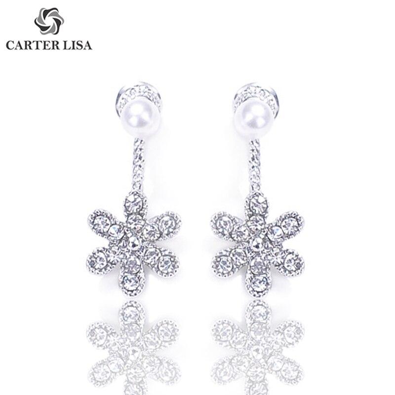CARTER LISA Charm Elegant Crystal Flower Pearl Drop Earings For Women Girl Fashion Jewelry Party Christmas Gifts Oorbellen