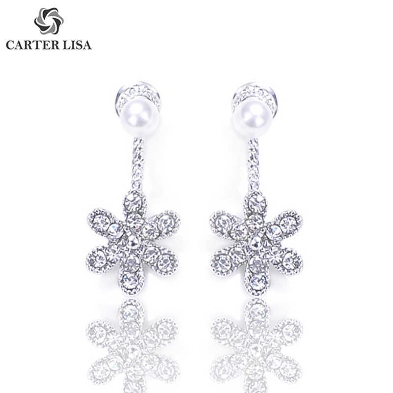 Carter Lisa Pesona Elegan Kristal Bunga Mutiara Drop Anting-Anting untuk Wanita Gadis Fashion Perhiasan Pesta Hadiah Natal Oorbellen