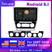 Seicane 10.1 Android 8.1 HD 2 Din Car Radio GPS Stereo for VW Volkswagen SKODA Octavia 2007 2014 Bluetooth Head Unit Mirror SWC