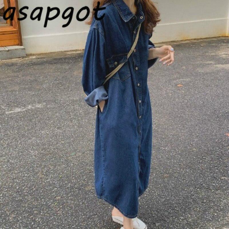 Свободное джинсовое платье женское длинное осеннее Новое Винтажное с длинным рукавом однобортное джинсовое прямое платье повседневное корейское шикарное платье|Платья|   | АлиЭкспресс