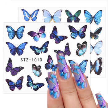 3D Watercolor Butterflies Sliders Nail Art Water Transfer Decal Sticker Blue Valentine's Day Nail Decoration Tattoo Manicure