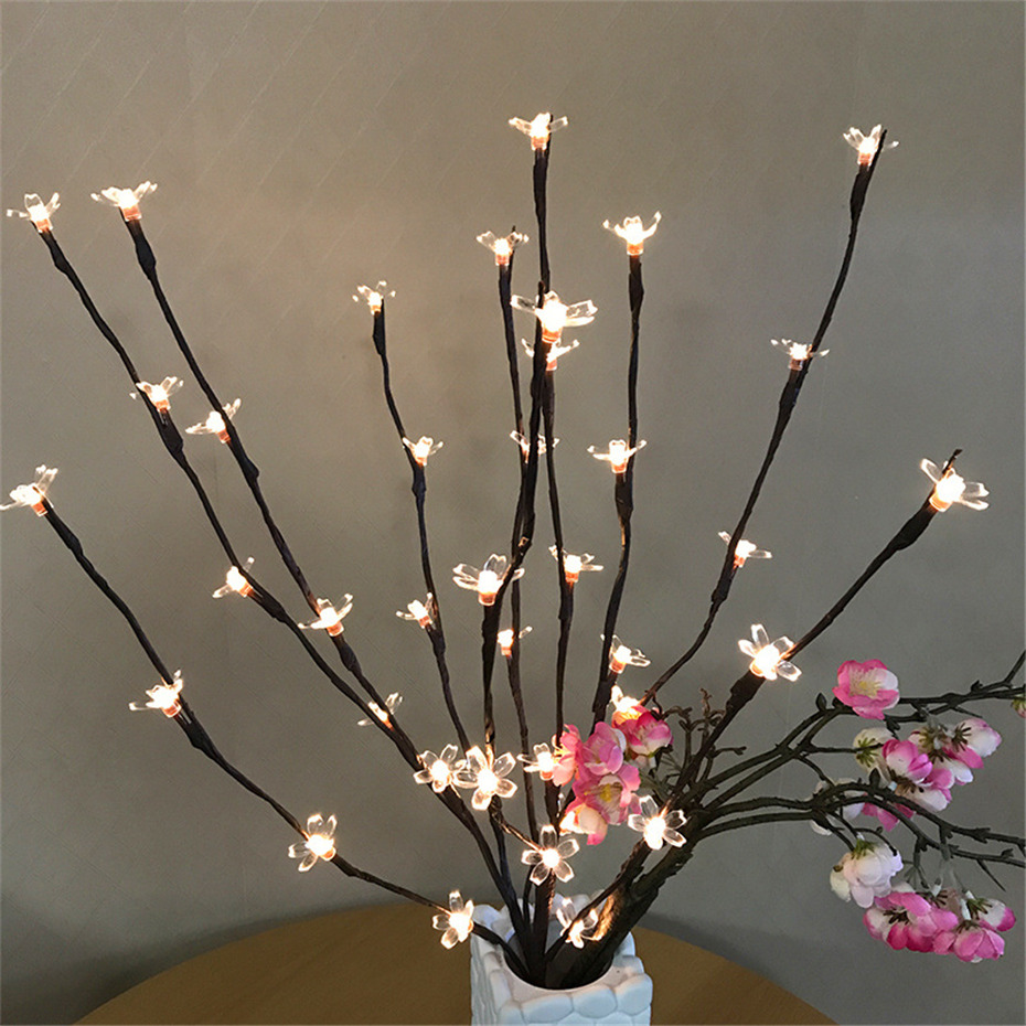 Home Decor 20 LED Bulbs Branch Lamps Battery Operated Handmade Tall Vase Filler Willow Twig Lighted Branches Bedroom Decoration