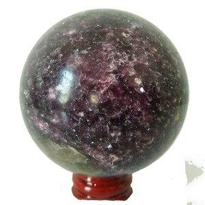 Image 1 - Natural lepidolite pedra bola de cristal casa decoração esfera cura cristais