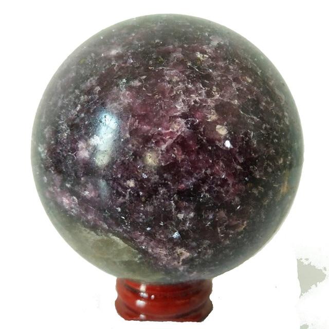 Natural lepidolite pedra bola de cristal casa decoração esfera cura cristais