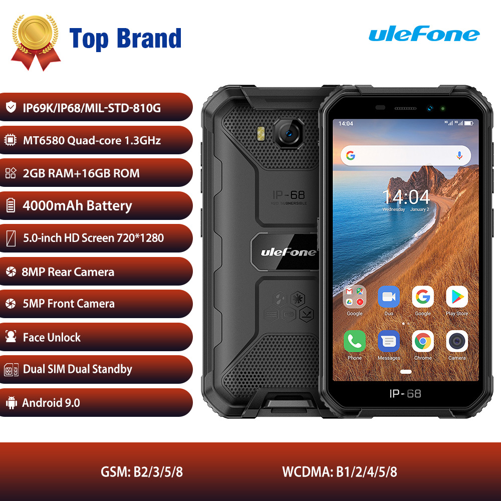 Ulefone Armor X6 ip68 MT6580 Rugged Waterproof Smartphone Android 9.0 Cell Phone Quad-core 2GB 16GB 3G LTE Mobile Phone