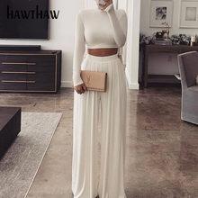Hawthaw Women jesienno-zimowa z długim rękawem krótkie bluzki prosta szeroka nogawka długie spodnie dwuczęściowe zestawy 2020 Falll Clothes Streetwear