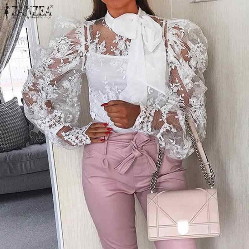 ZANZEA yaz seksi dantel bluz zarif kadınlar uzun puf kollu dantel tığ işi üstleri papyon gömlek Femme Robe parti Blusas Chemise