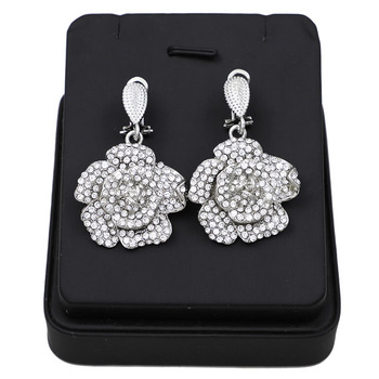 Abstract Flower Pendant Pattern Rhinestone Jewelry Set  4
