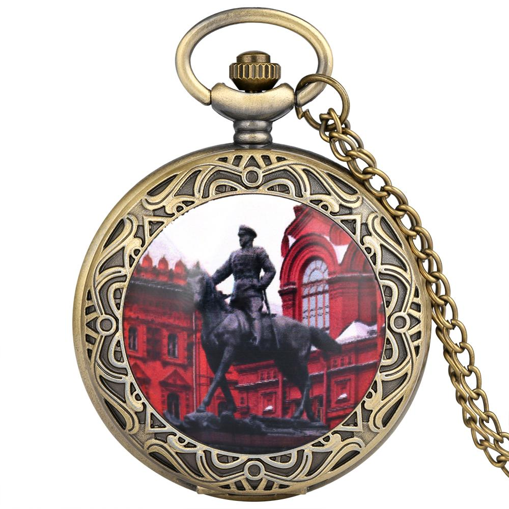 Antique Soviet Marshal Zhukov Sculpture Design Red Quartz Pocket Watch Gift For Men Women With Necklace Chain Fob Watches