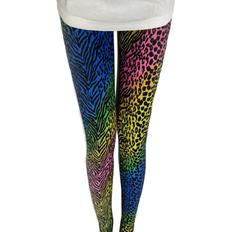 Popular Color Neon Leopard Print Female Stretch Milk Silk Tight Pants Neon Zebra Leopard Newest