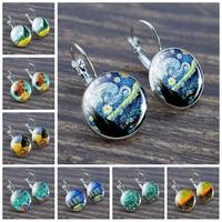 Mode argent couleur Simple Style boucles d'oreilles Van Gogh célèbre artiste étoilé nuit boucles d'oreilles verre Cabochon bijoux femmes cadeaux