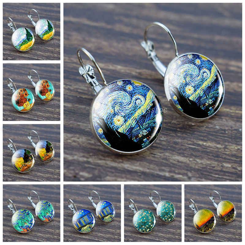 Fashion Silver Color Simple Style Earings Van Gogh Famous Artist Starry Night Stud Earrings Glass Cabochon Jewelry Women Gifts