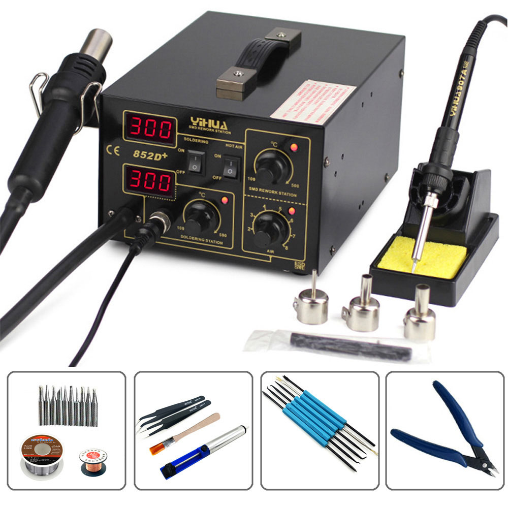 YIHUA 852D+ 2 In1 Pump Type 700W Hot Air Gun Digital Soldering Iron Desoldering  Station SMD Constant Temperature Rework Station