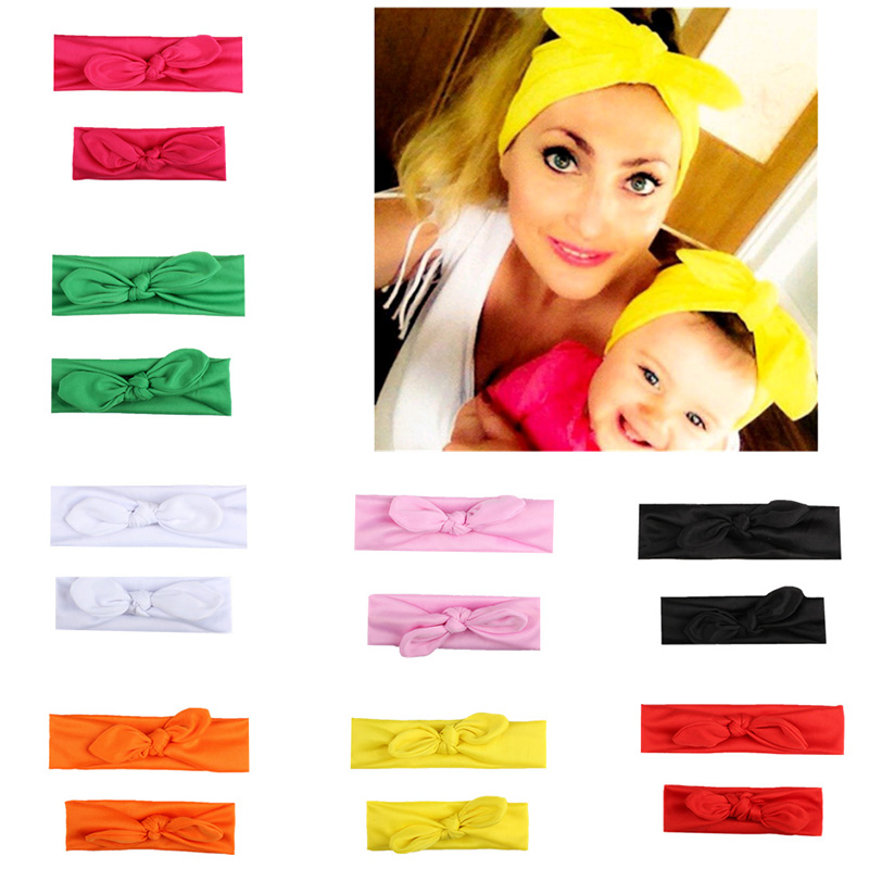 2pcs/lot Candy Solid Color Handmade Newborn kids Bow Nylon Headbands Soft Mother and Baby Headwear Elastic Head band