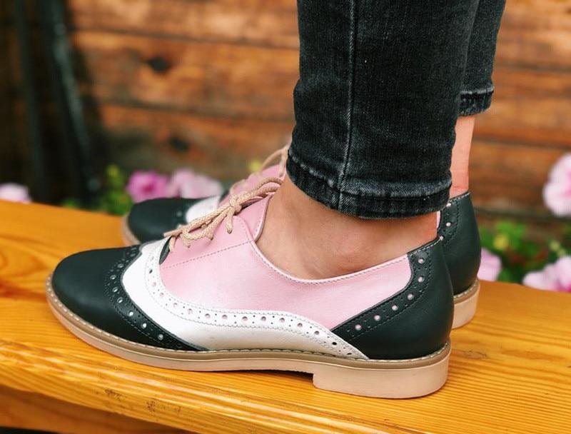 Plus Size 34-43 Women Oxfords Flats Shoes Vintage Color Block Brogues Shoes Woman British Carved Laces Student Lady Oxford Shoes (1)