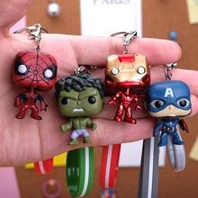 Movie Super Hero Iron man key Chain Spiderman Hulk Deadpool PVC Keychain Bag Gifts Kids Party Classic Film For Fans